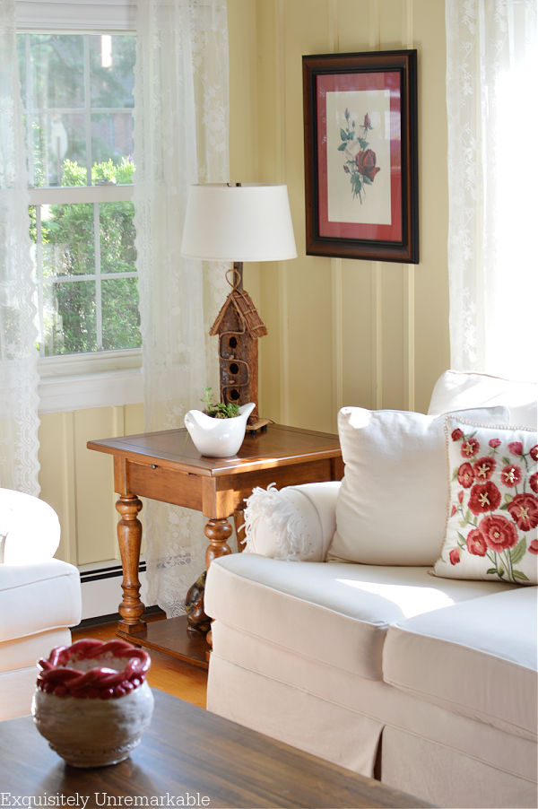 Cottage Living Room with lace panels