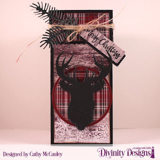 Stamp/Die Duos: Deer Ornament, Paper Collection: Rustic Christmas, Custom Dies: Treat Tower, Deer Silhouette, Pierced Circles, Circles, Pine Branches, Treat Tags