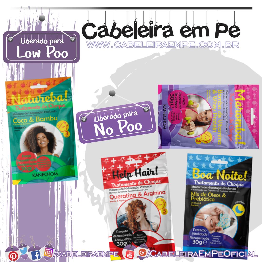 Tratamentos de Choque Natureba (Coco e Bambu), Maromba (Bomba de Vitamina), Help Hair (Creatina e Arginina) e Boa Noite (Mix de óleo e Prebiótico) - Kanechom (Low Poo)
