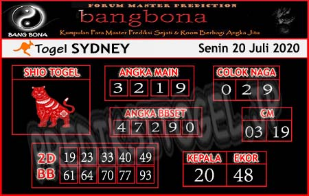 Prediksi Bangbona Sydney Senin 20 Juli 2020