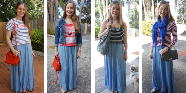 striped top and chambray maxi skirt 4 outfit ideas | away from the blue