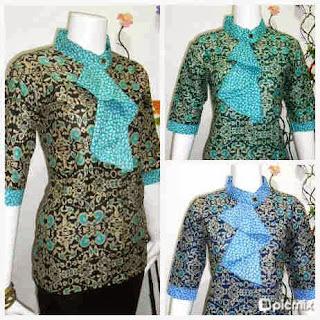 Baju Batik Wanita Model Blus Dasi