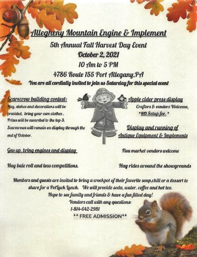 10-2 Allegheny Mountain Engine Harvest Day, Port Allegany