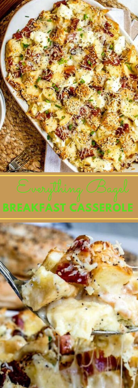 EVERYTHING BAGEL MAKE AHEAD BREAKFAST CASSEROLE #vegetarian #vegan #breakfast #casserole #easy