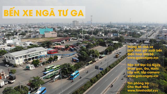 ảnh từ trên cao bến xe Ngã Tư Ga quốc lộ 1 A Thạnh Lộc Quận 12 Hồ Chí Minh