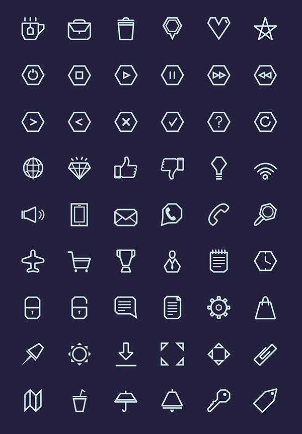 Line Icon Set Free Vector PSD