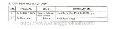 Jadwal cuti bersama tahun 2019