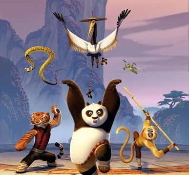 Po and friends training in Kung Fu Panda 2008 movieloversreviews.filminspector.com