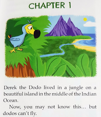 Derek The Flying Dodo standing on a hill overlooking his island home