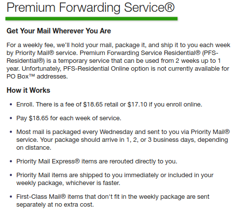 Premium Mail Forwarding and it works