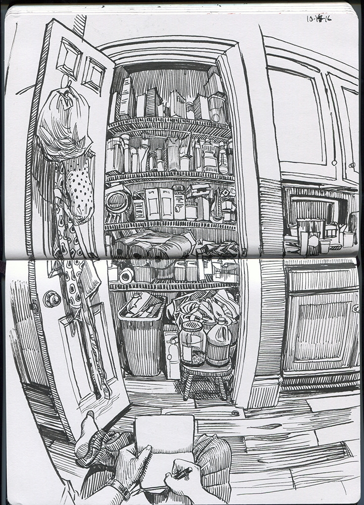 08-Pantry-Paul-Heaston-Urban-Sketcher-in-Moleskine-Drawings-www-designstack-co