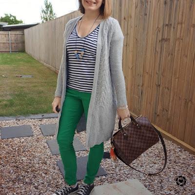 awayfromtheblue Instagram | navy stripe tee grey maxi cardigan green skinny jeans converse louis vuitton speedy bandouliere