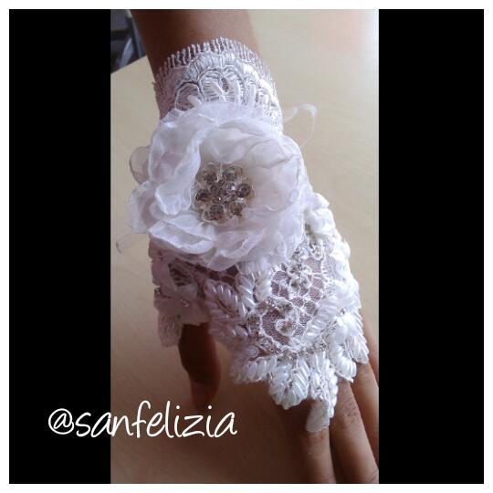 Wedding gloves untuk nail art, sarung tangan full kristal, payet dan 3D