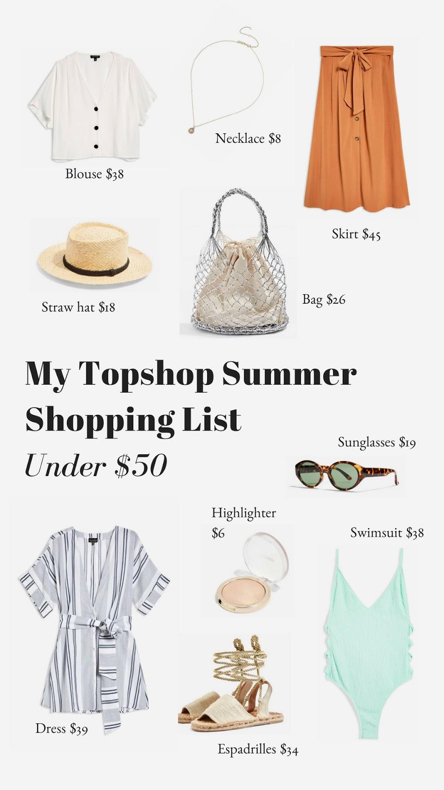 My Topshop Summer Shopping List (Under $50)