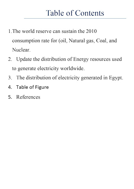 Electrical Power Generation Report 1 - Distribution of Energy resources in world & Electricity generated in Egypt -   تحميل ريبورت دكتور وائل عبدالفتاح الخاص بمادة توليد طاقة