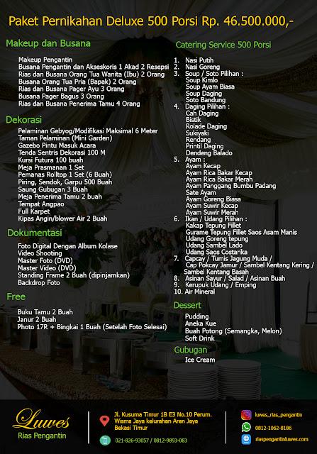 Paket menu catering pernikahan untuk 250 undangan jumlah porsi makanan 500 pax / orang
