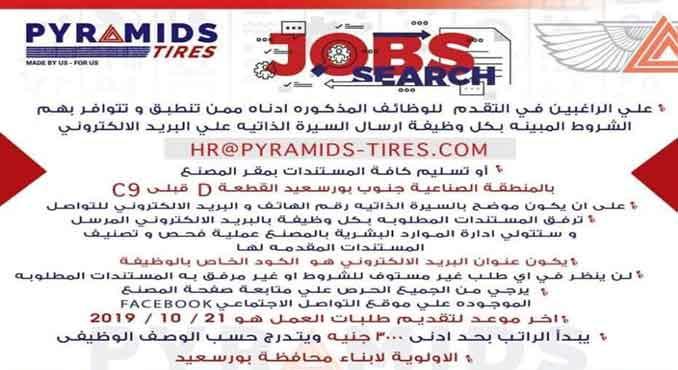 وظائف بالمنطقة الصناعية بجنوب بورسعيد مصنع بيــراميدز
