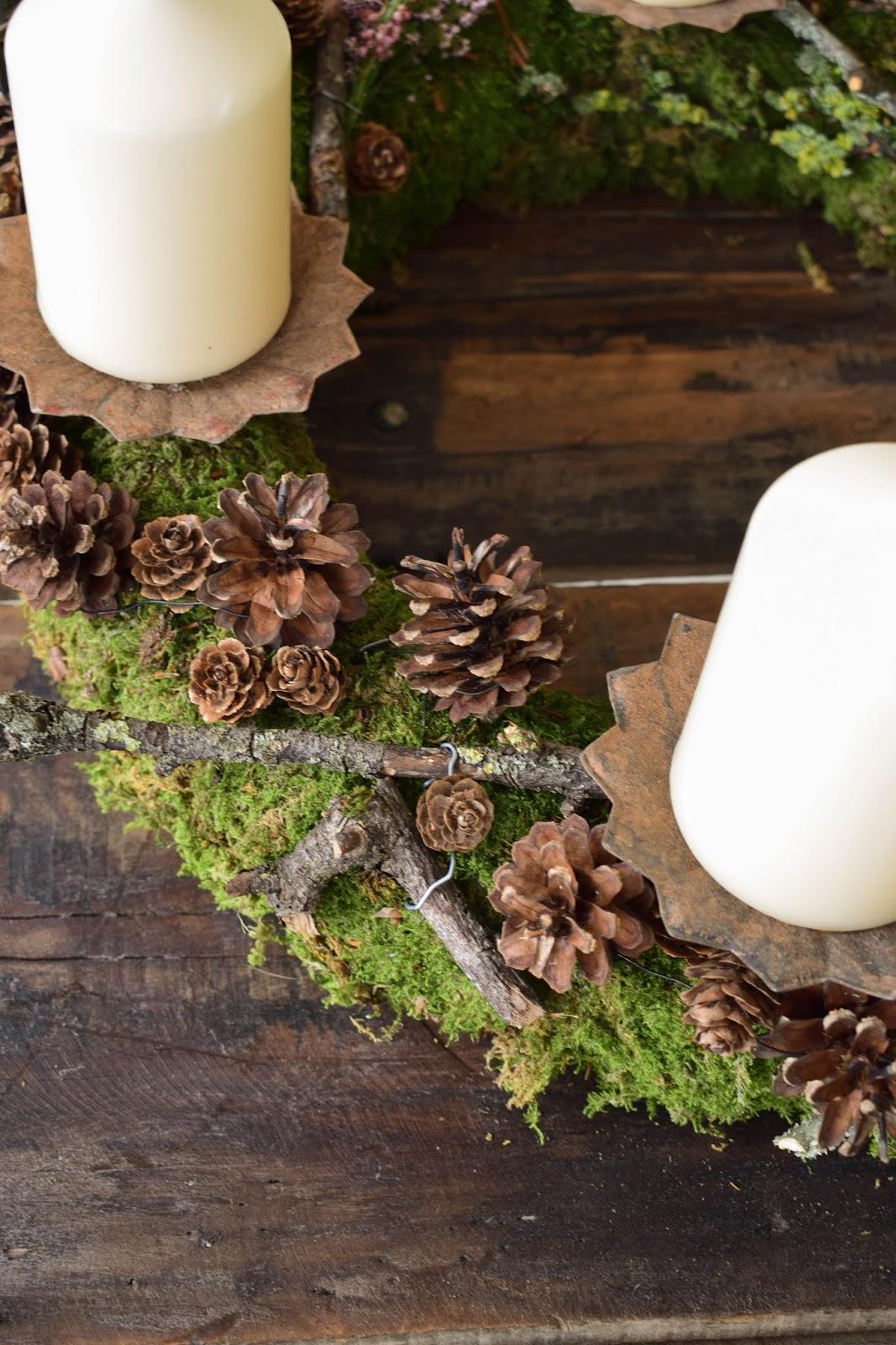 Naturdeko mit Moos für Advent und Weihnachten: Adventskranz Idee selber machen
