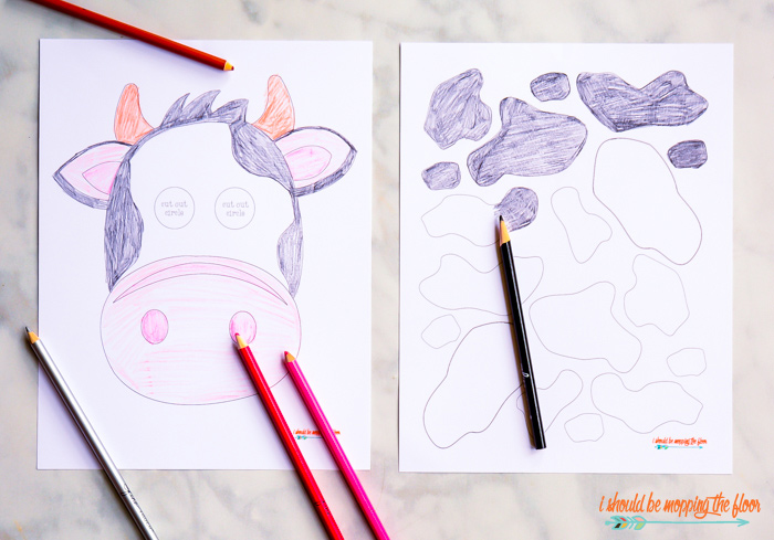 Colorable Cow Mask Printable