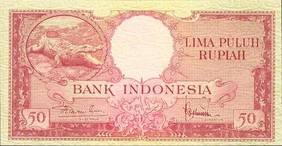 50 rupiah 1958 depan