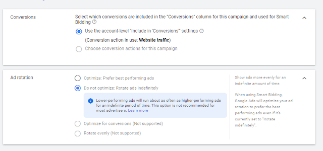 Select New Settings Now in Google Ad