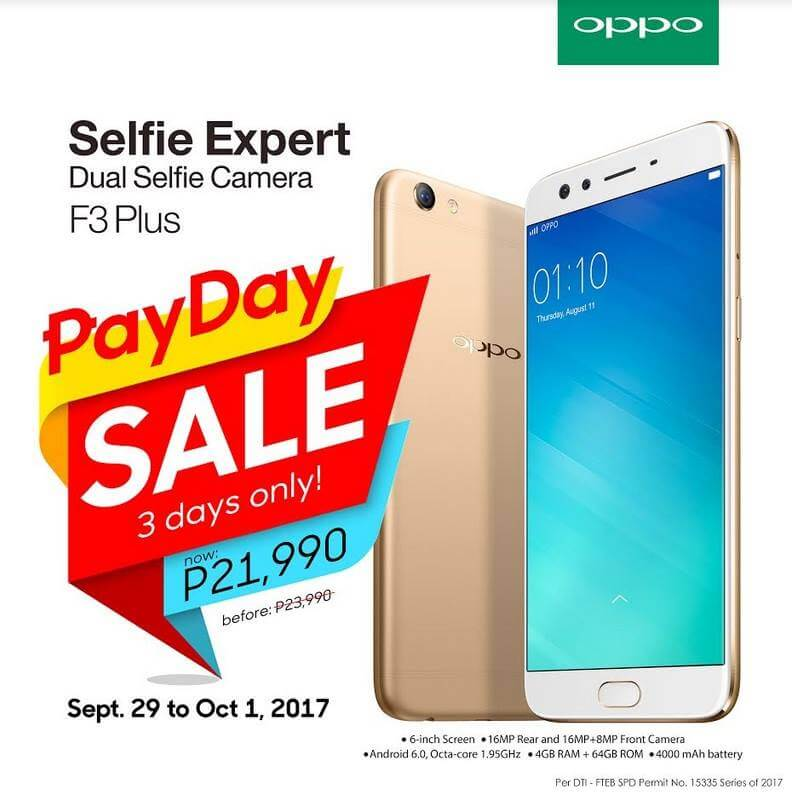 OPPO F3 Plus Payday Sale, Get It For Only Php21,990