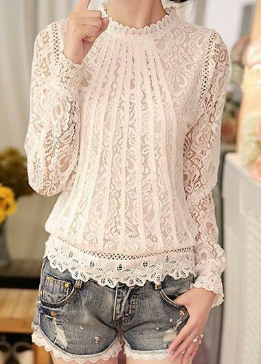 White laces blouse with mini Jean skirt