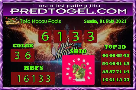 Pred Macau Senin 01 Februari 2021