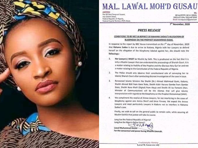 CELEBRITIES : CONDITIONS TO BE MET IN REPSECT OF RAHAMA SADAU.S ALLEGATION OF BLASPHEMY ON THE PROPHET MUHAMMADA( S.A.W )