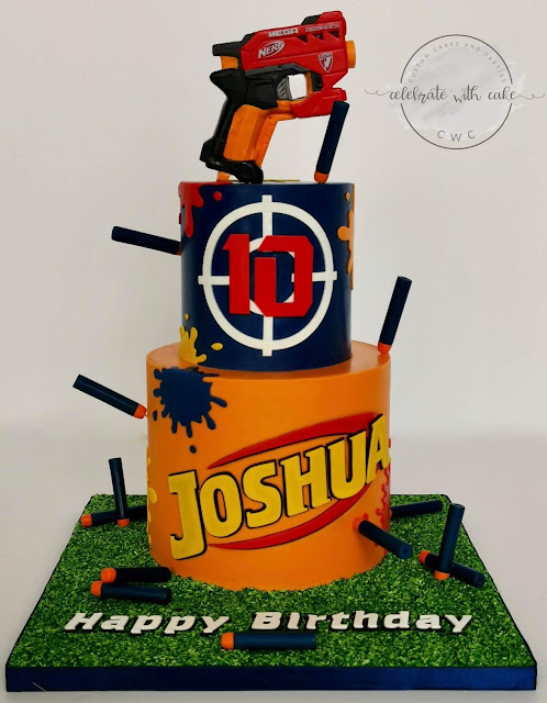Tremendous Celebrate With Cake Nerf Gun Themed 2 Tier Cake Personalised Birthday Cards Veneteletsinfo