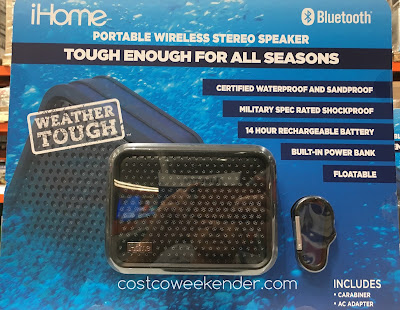 Listen to your favorite songs with the iHome iBT7 Waterproof Bluetooth Speaker