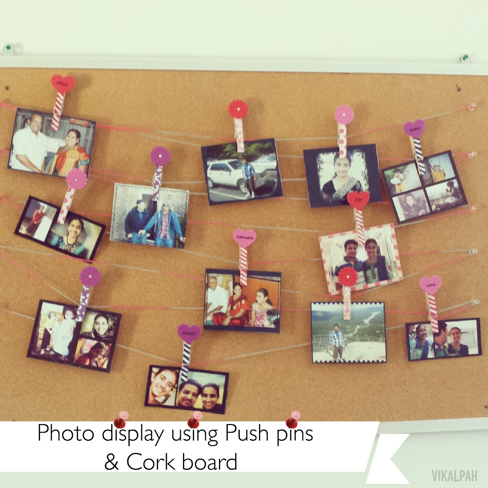 Photo Display Using Push Pins Corkboard