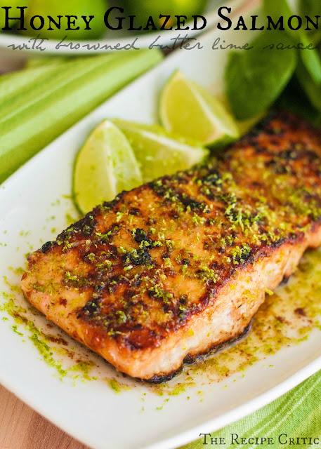 Honey Glazed Salmon with Browned Butter Lime Sauce #salmon #maindish #dish #dinnerrecipe #dinner