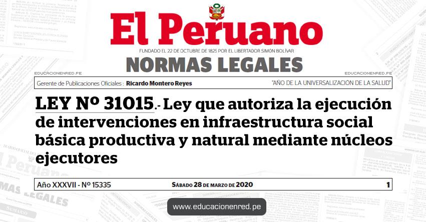LEY Nº 31015.- Ley que autoriza la ejecución de intervenciones en infraestructura social básica productiva y natural mediante núcleos ejecutores
