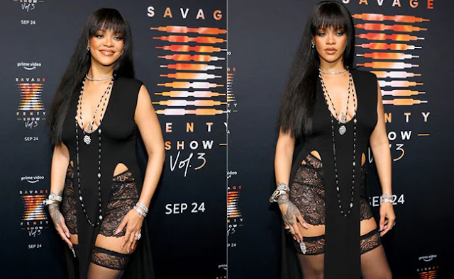 Rihanna Looks Super Sexy in Black Lingerie Dress
