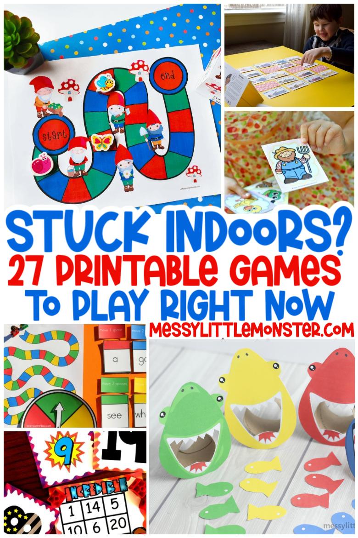 Indoor activities for kids. Printable games.