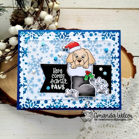 Puppy in Santa Boot card by Amanda Wilcox | Christmas Puppies Stamp Set, Frames & Flags Die Set and Snowfall Stencil by Newton's Nook Designs #newtonsnook #handmade