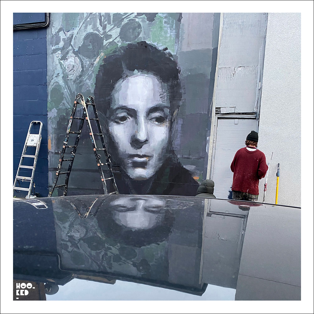 Hackney Street Art Mural featuring portrait of Gluck : Hannah Gluckstein