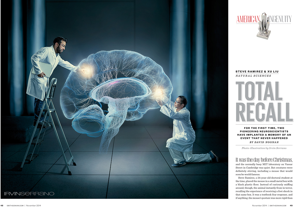 Tearsheet from the Smithsonian Magazine featuring the composite image, created by Irvin Serrano Photography, representing scientest studying and working with the human brain and memory loss.