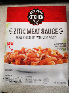 Outer packaging of Main Street Kitchen Three Cheese Ziti with Meat Sauce, from Dollar Tree