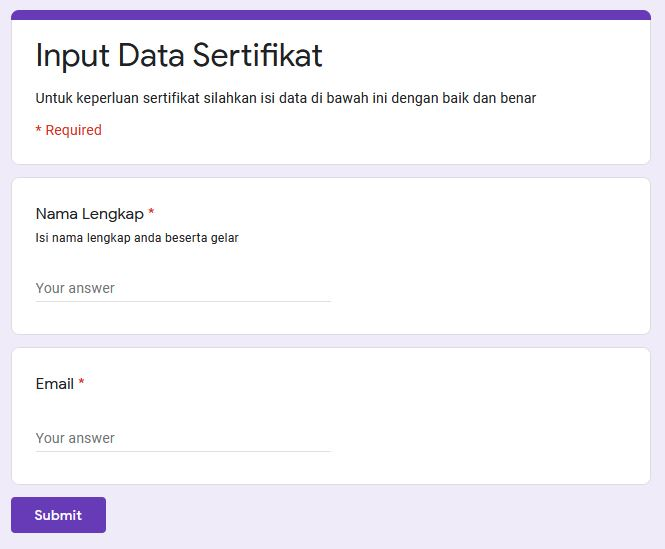 form input data sertifikat