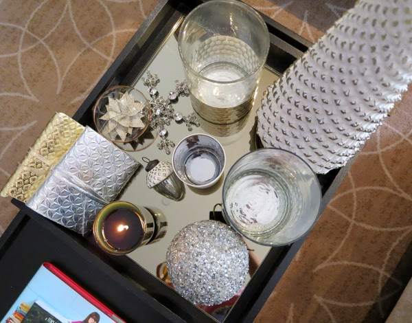 Christmas coffee table styling with gold and silver decor