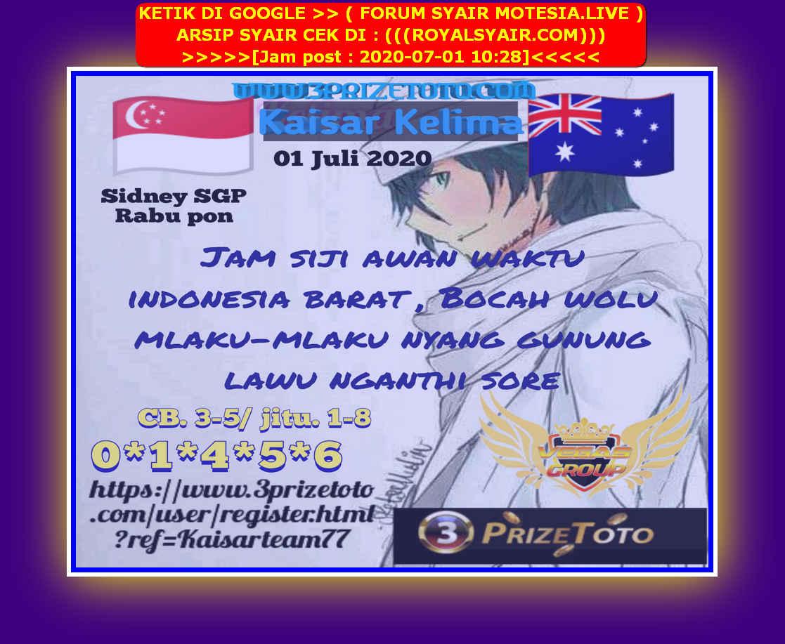 Kode syair Singapore Rabu 1 Juli 2020 46