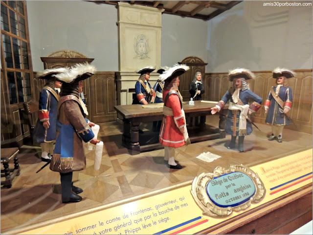 Maqueta sobre el Sitio de Quebec por la Flota Inglesa