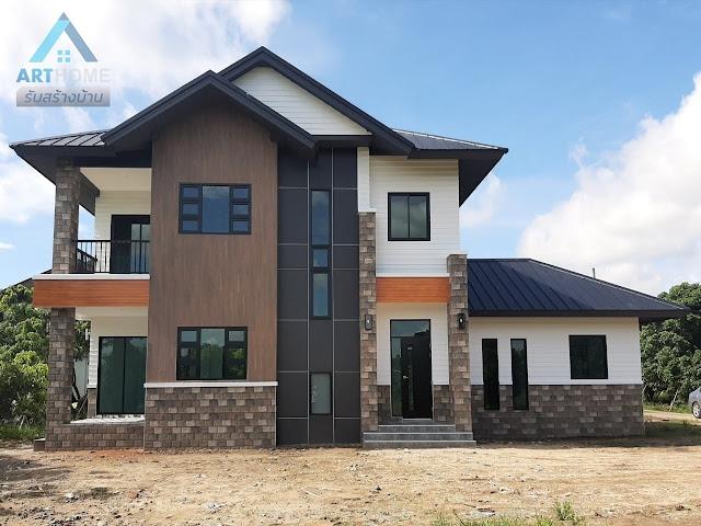 แบบบ้านสไตล์โมเดิร์นสองชั้นราคาถูก 2,400,000 ล้านบาท
