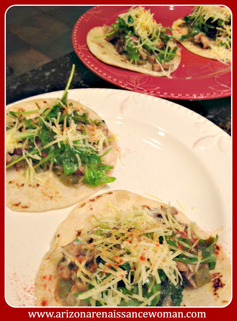 Cilantro Green Chile Mushroom Tacos with Baby Arugula and White Cheddar