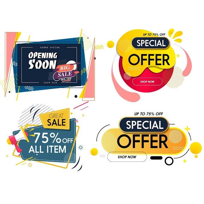Sale tags templates colorful modern decor Free vector
