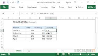 صيغ الدالة FORMULATEXT واستخدامها في برنامج Microsoft Excel