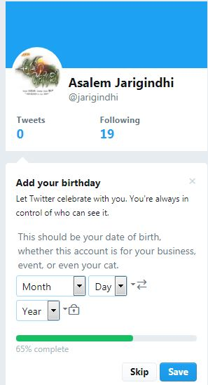 Enter date of birth