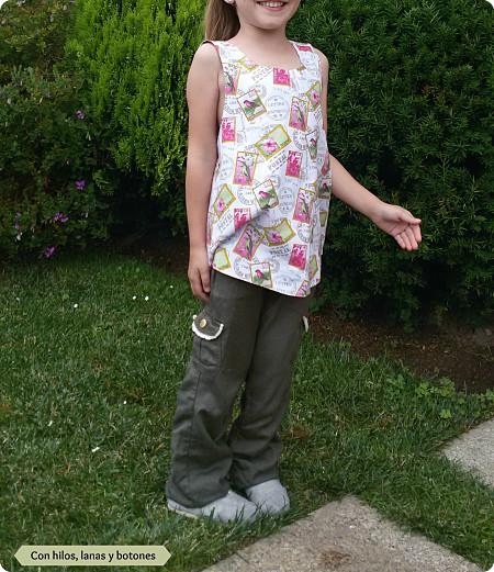 Con hilos, lanas y botones: Blusa pinafore de sellos y pajaritos